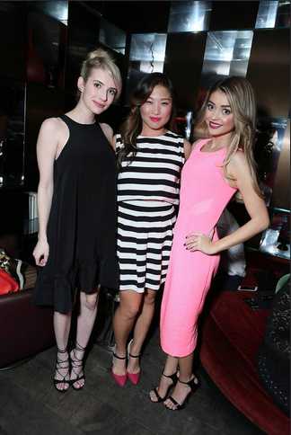 Emma Roberts and Sarah Hyland take a moment to congratulate Jenna Ushkowitz (center) for her work at the Inaugural Fundraiser for The Kindred Foundation for Adoption at Riviera 31 at the Sofitel Los Angeles at Beverly Hills. (Photo: Alex Wyman for AP/Invision)