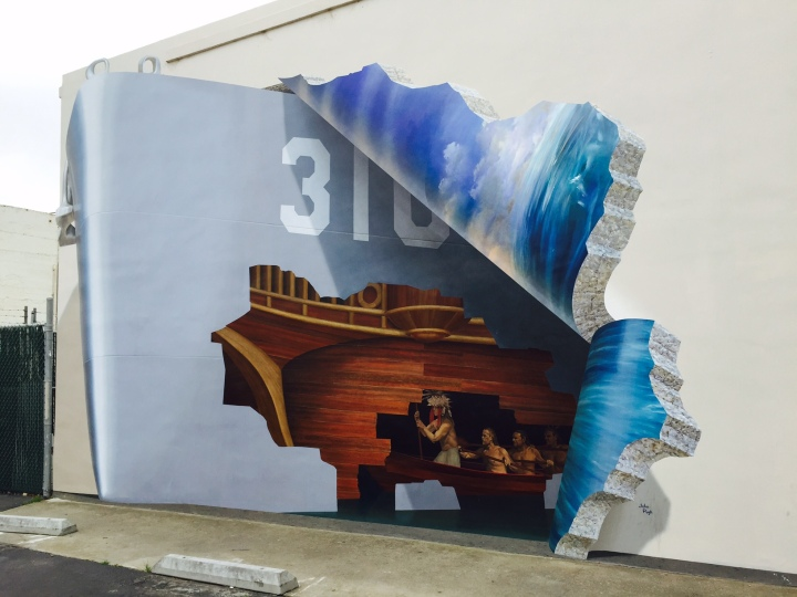 """""""The Boatmen"""" in Old Town Lompoc's Art Alley. (Painting by John Pugh, photo by Scott Bridges)"""