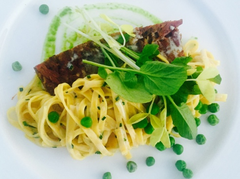 Tagliatelle with duck confit at West Hollywood's Rooftop at the London. (Photo by Scott Bridges)